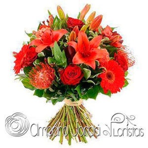 Bouquet tropical rojo