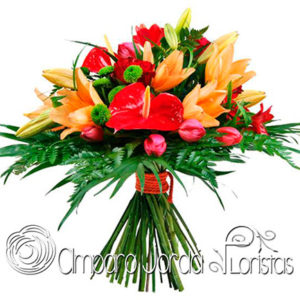 Bouquet tropical naranja
